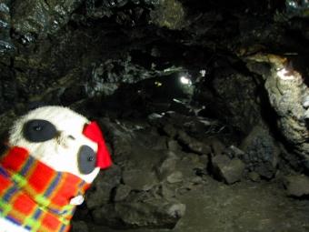 洞窟内頭上注意