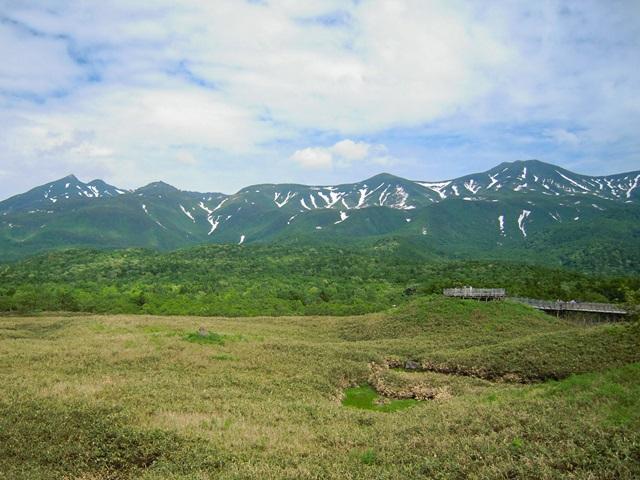 高架木道から眺めた知床連山