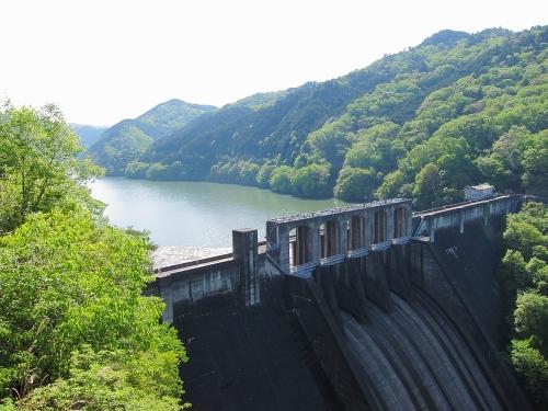 木曽川川上り 探訪台から望む丸山ダムと丸山蘇水湖
