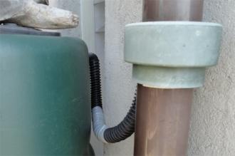 雨水タンク じゃばらホースを補修して再セット