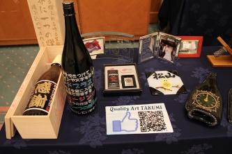 のむりえ協会ワイン会 サンドブラスト作品展示