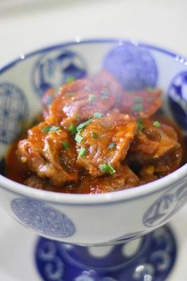砂肝と玉ねぎのピリ辛やわらか煮1