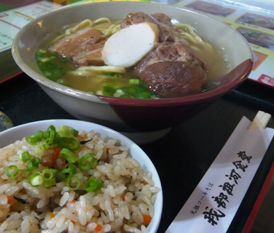 我部祖河食堂美栄橋店:我部祖河そば、じゅーしー2