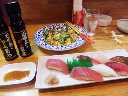 石垣島:寿司盛り、ゴーヤーチャンプルー