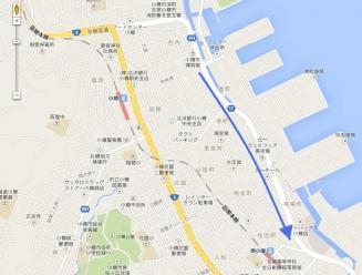 地図小樽から南小樽矢印