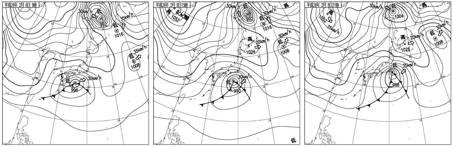 2014年2月8日9~21時の天気図