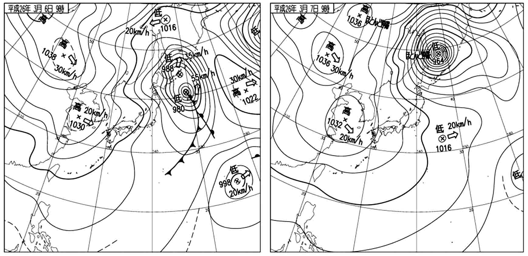 寒い! 3月6~7日 地上天気図