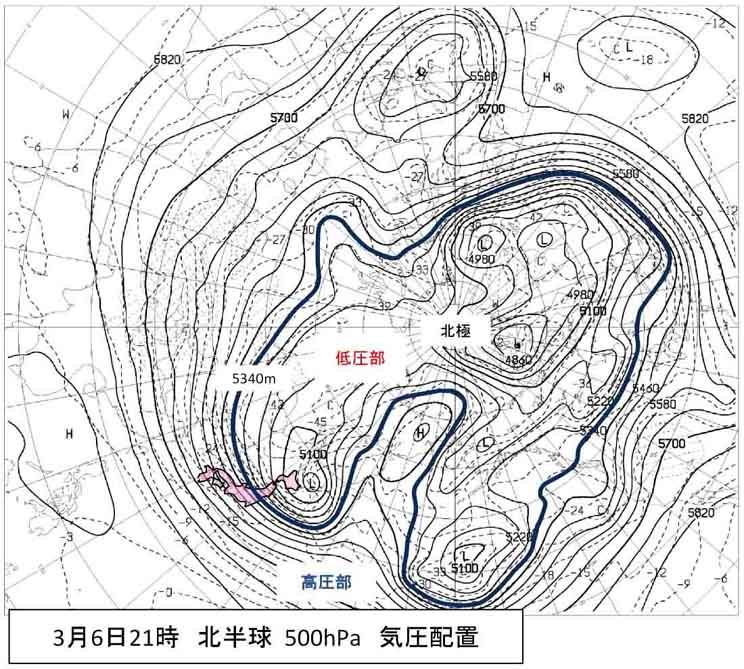 寒さが続く日本上空(1)