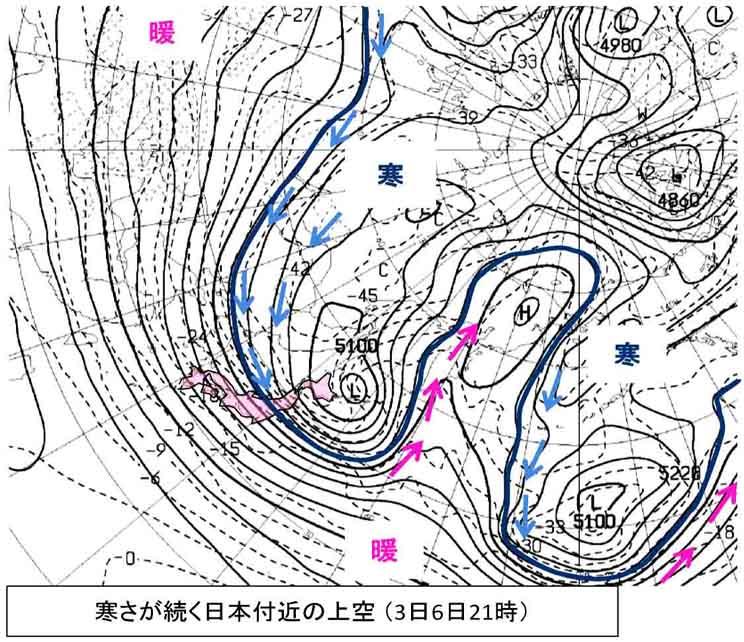寒さが続く日本上空(2)