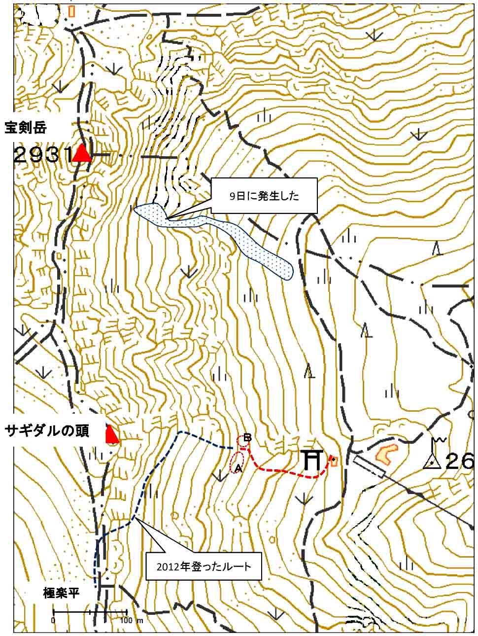 宝剣周辺の地図と位置