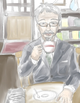珈琲を飲むおじいさん