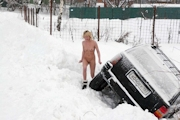 ロシア美女 雪中 野外露出ヌード画像 3