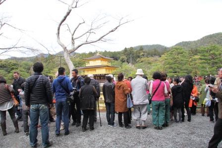 金閣に集まる観光客_H26.04.05撮影