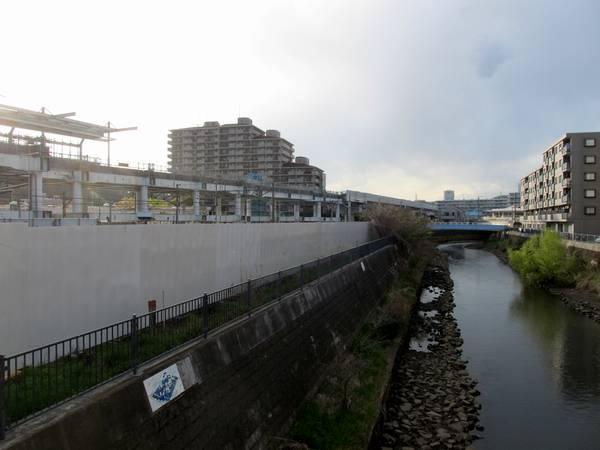 星川駅北口前を流れる帷子川から和田町駅方向を見る。(2014年4月5日)