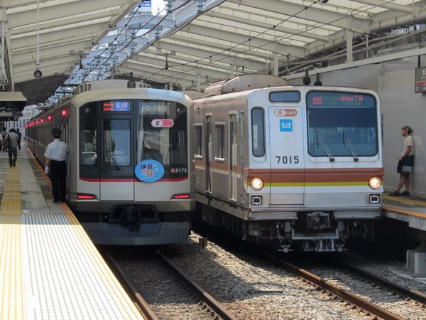 東急東横線綱島駅で並ぶ東急5050系と東京メトロ7000系。
