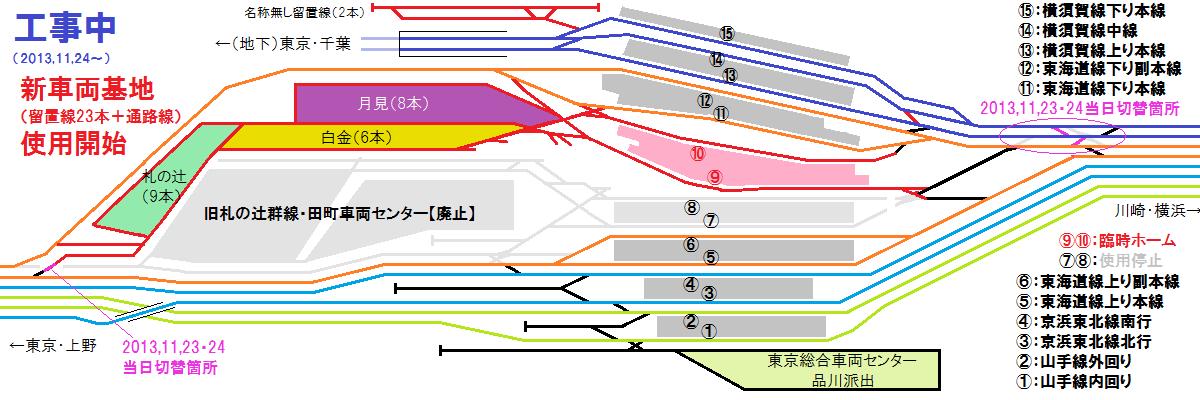 2013年11月24日以降の品川駅・新車両基地の配線図