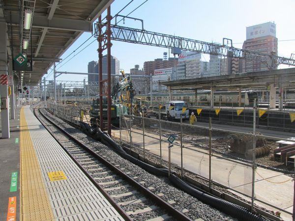 取り壊された品川駅7・8番線ホームの横浜寄り