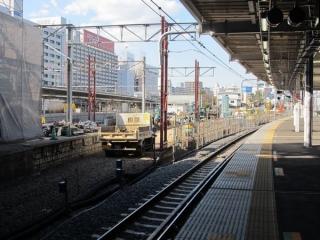 9番線から見た改築中の7・8番線ホーム東京寄り