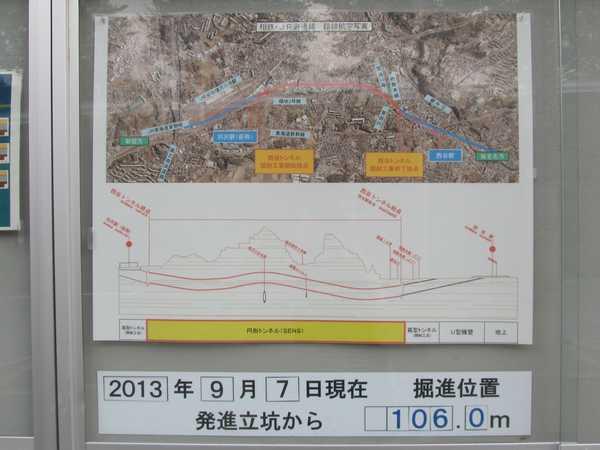 シールドマシンの掘進状況を示す掲示物。