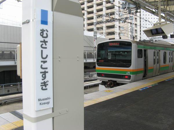 武蔵小杉駅に停車中の湘南新宿ラインE231系。東横線・副都心線と湘南新宿ラインは横浜~池袋間で競合関係にある。