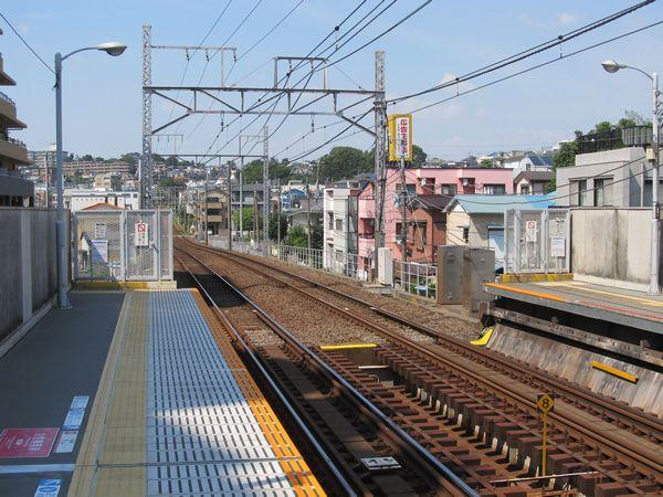 東白楽駅渋谷方のホーム端。東横線下り列車の撮影地として鉄道ファンの間では有名な場所。