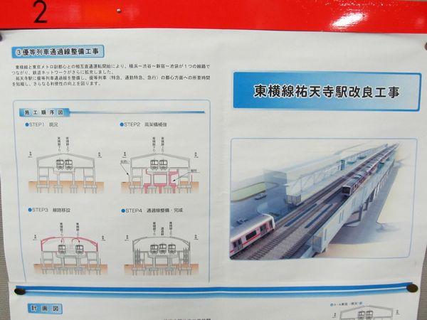駅構内に掲出されていた祐天寺駅改良工事の詳細計画