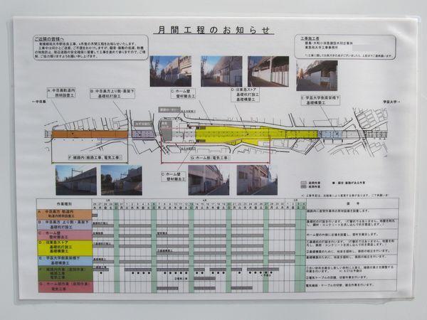 駅の外に掲出されていた4月の工事予定表