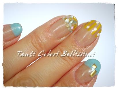 黄色、水色、初夏ネイル