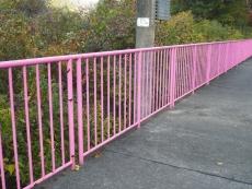 ピンク色のフェンス