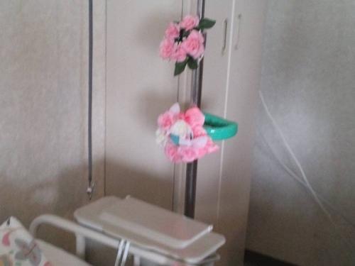 肺炎で入院中の病室へ母の誕生日で母の好きなピンク色の花飾りをつけた写真