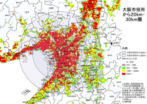 大阪都心からの距離帯
