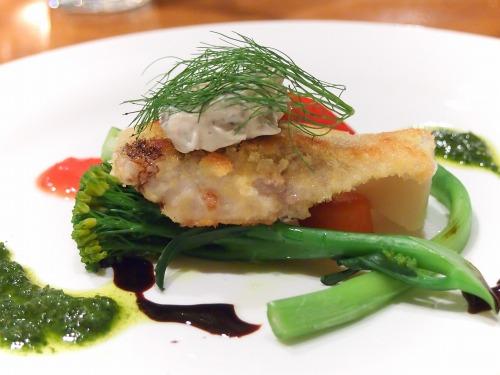 いなだのカツレツ黒オリーブのタルタルソース旬の野菜と共に03@Es Passion