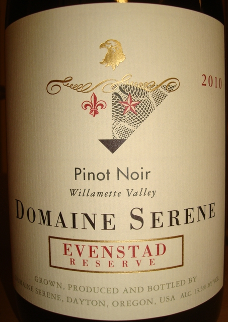 Evenstad Reserve Willamette Valley Pinot Noir Domaine Serene 2010