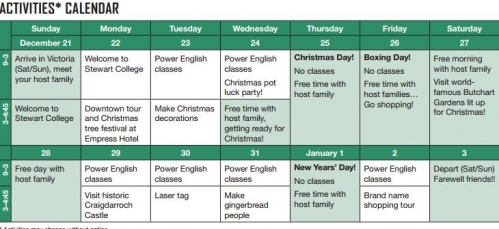 stewart college christmas schedule