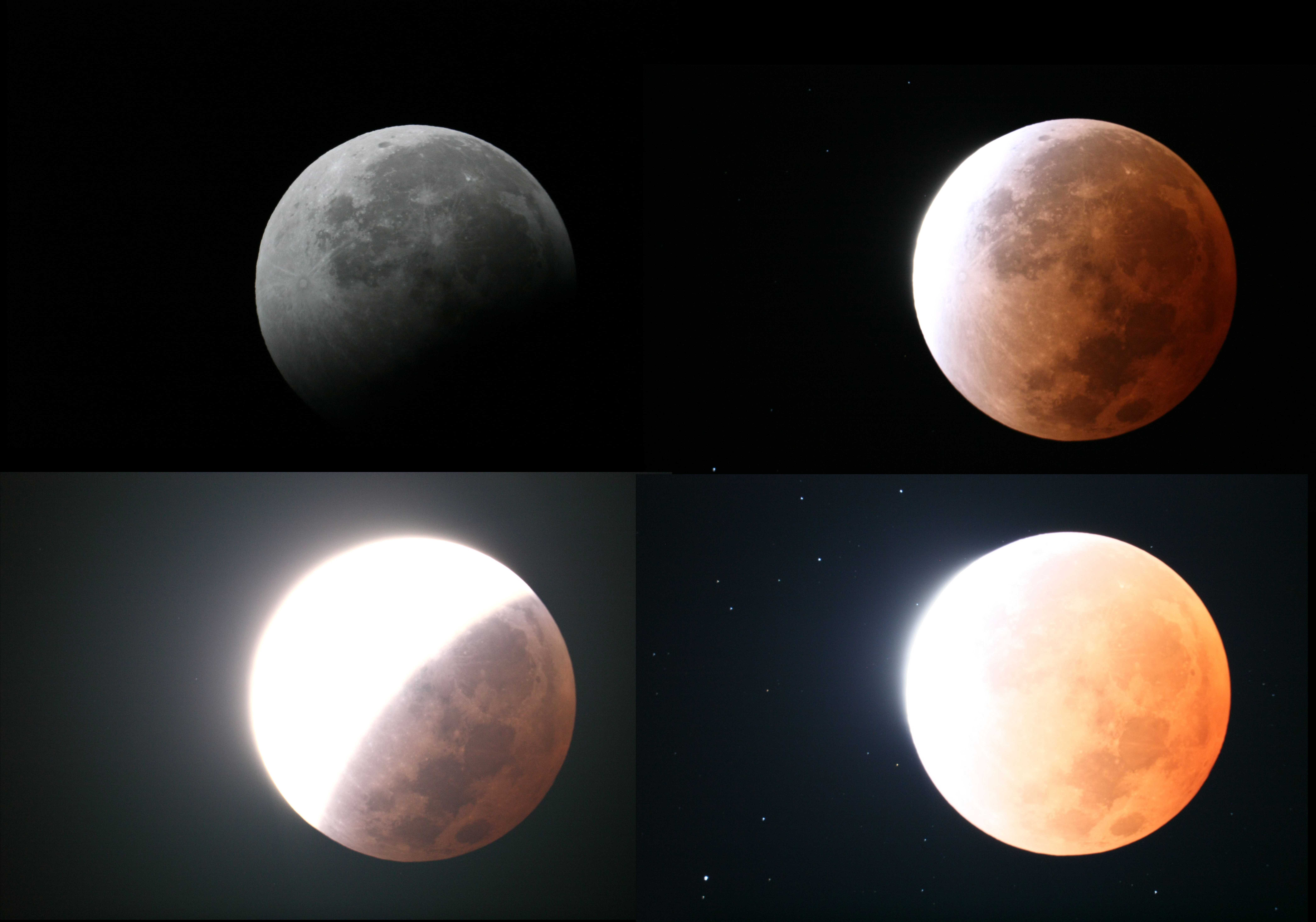 image of different exposure times o f lunar eclipse