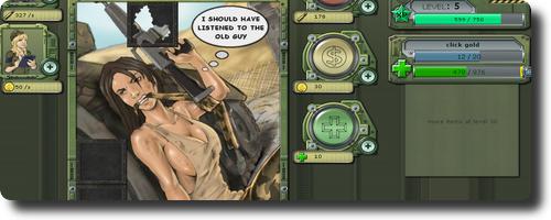 ちょっぴりセクシーな女兵士のクリッカー系ゲーム army clicker フラマニ