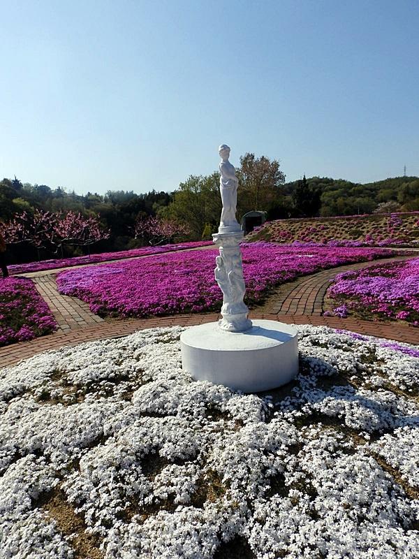芝桜と銅像