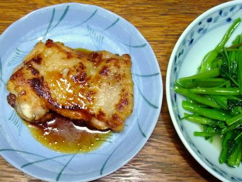 鶏の照り焼きと空芯菜の炒めもの