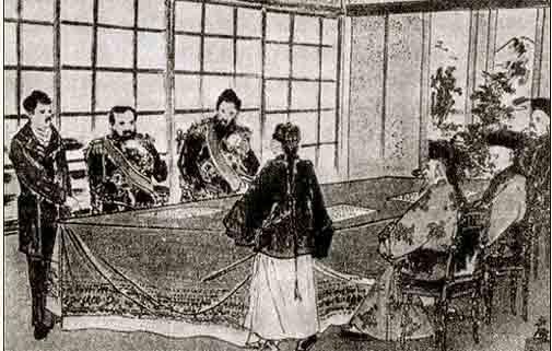 《马关条约》签字时的情景