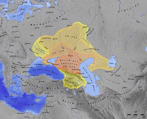 ハザール・カガン国の版図(650年頃が赤、750年頃が橙、850年頃が薄い橙)