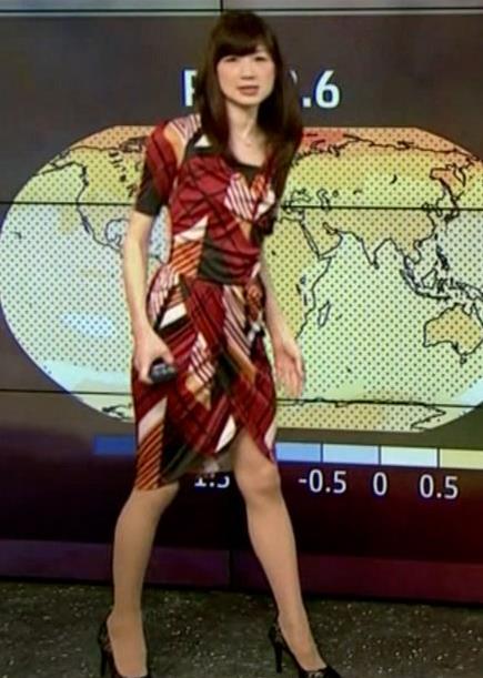 井田寛子 ニュースウォッチ9(NHK)の気泡予報士のセクシーワンピースキャプ画像(エロ・アイコラ画像)