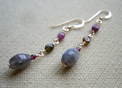 labradorite french knot necklace & earrings